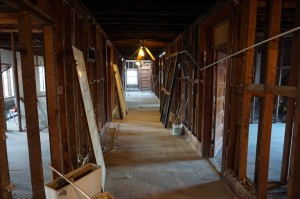 Construction has started to gut and renovate the interior of the building.