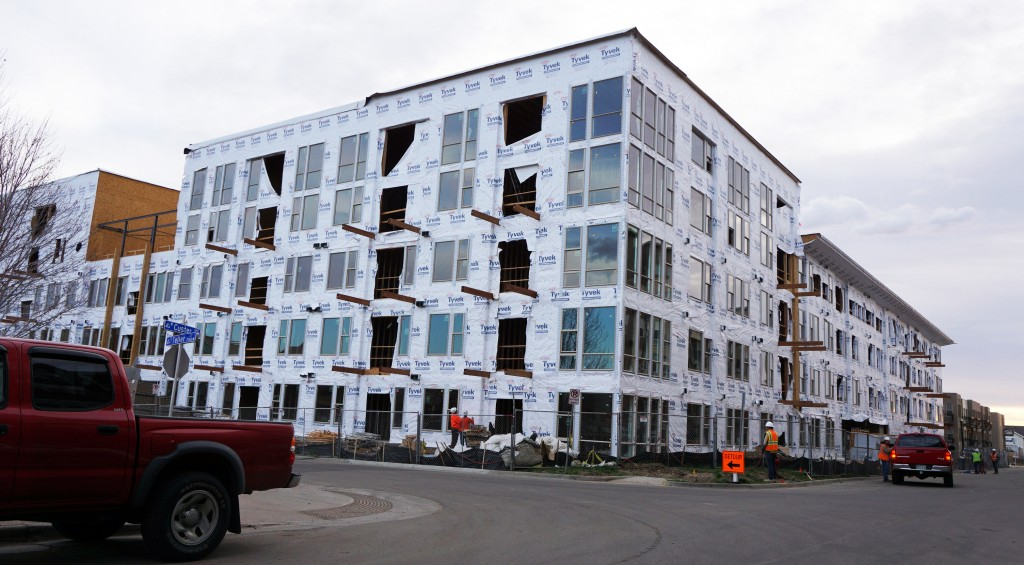 The first of five Trifecta buildings will be ready for residents this summer. Photos by Burl Rolett.