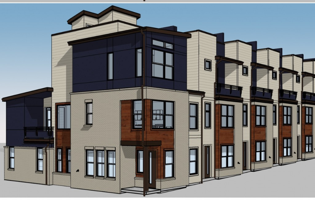 New development at Sloan's Lake calls for 24 town houses. Rendering courtesy of Legacy Capital Partners.