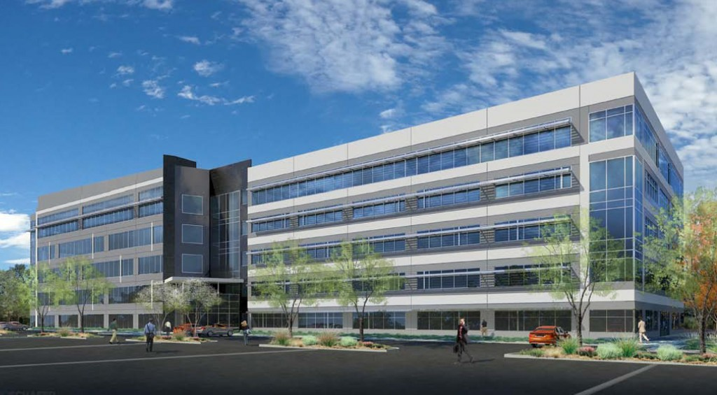 A developer is planning to soon break ground on a five-story office building. Rendering courtesy of Newmark Grubb Knight Frank.