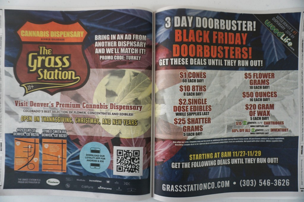 Grass Station took out two full-page ads in Westword ahead of Black Friday.