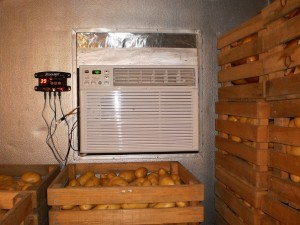 The Coolbot rigs a normal AC window unit to cool a small space to refrigerator temperatures. Image courtesy of Stoic.