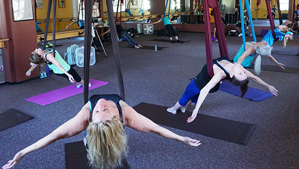 A recent class at Aireal Yoga in Evergreen. Photos by George Demopoulos.
