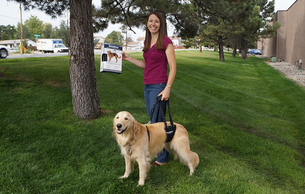 Liz and Jake, donning the GingerLead sling and leash.