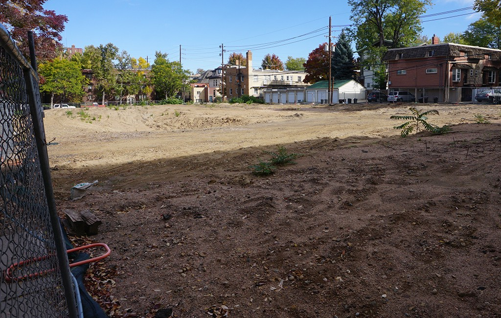 Koelbel Urban Homes cleared land at 14th and Vine streets in Cheesman Park to build 14 new townhomes. (Burl Rolett)