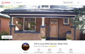 A Washington Park Airbnb listing.