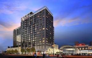 A rendering of the proposed 20-story, 334-condo apartment project. (Courtesy East West)