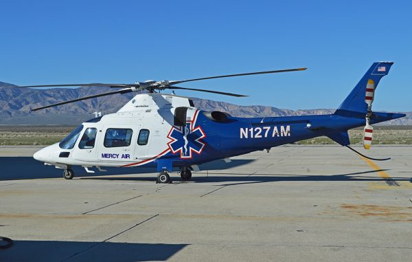 An Air Methods helicopter in California in February. (Photo by Alan Wilson, Creative Commons)