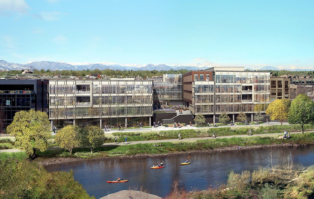A rendering Riverview, an under-construction 203,000-square-foot office building on Platte Street. (Courtesy Trammell Crow)