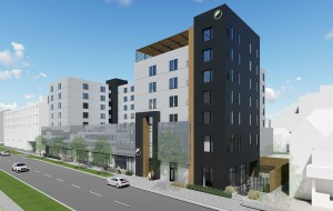 A rendering of the planned Element hotel, a brand owned by Marriott. (Courtesy H&A Development)