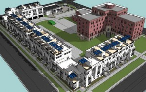 A rendering of the planned townhomes at the Sloan's Lake St. Anthony's site.