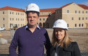 Eric and Evelyn Weins in front of the development site. (Burl Rolett)