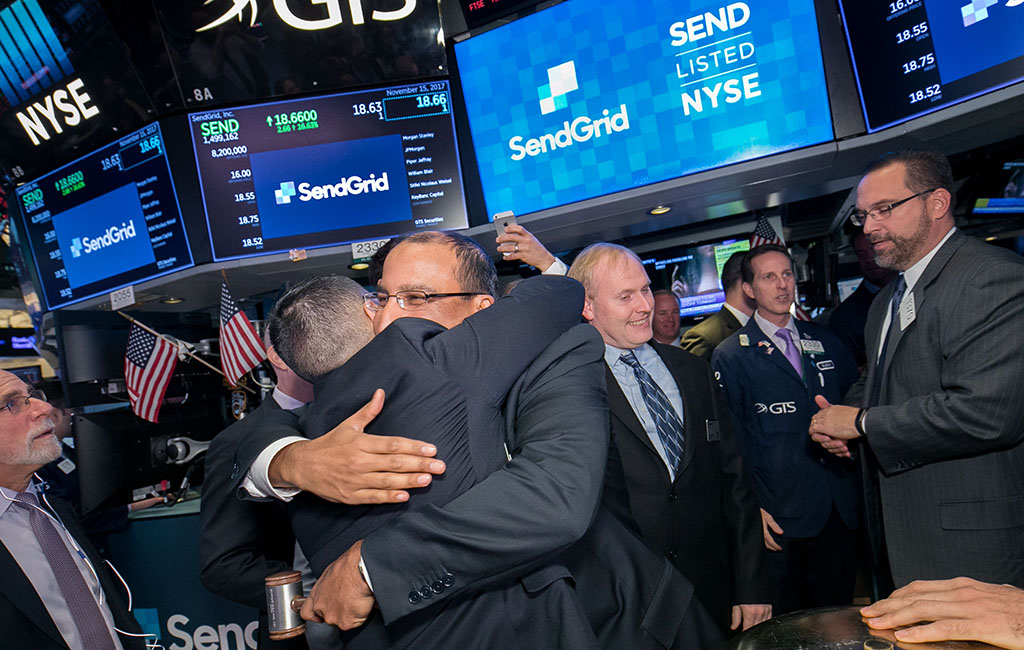 sendgrid stock jumps on first day of trading businessden